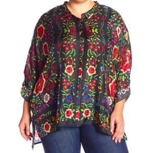 Johnny Was Multicolor Vibrant Floral Silk Blouse